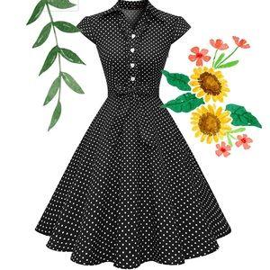 Black Polkadot Retro Style Dress w Heart Buttons